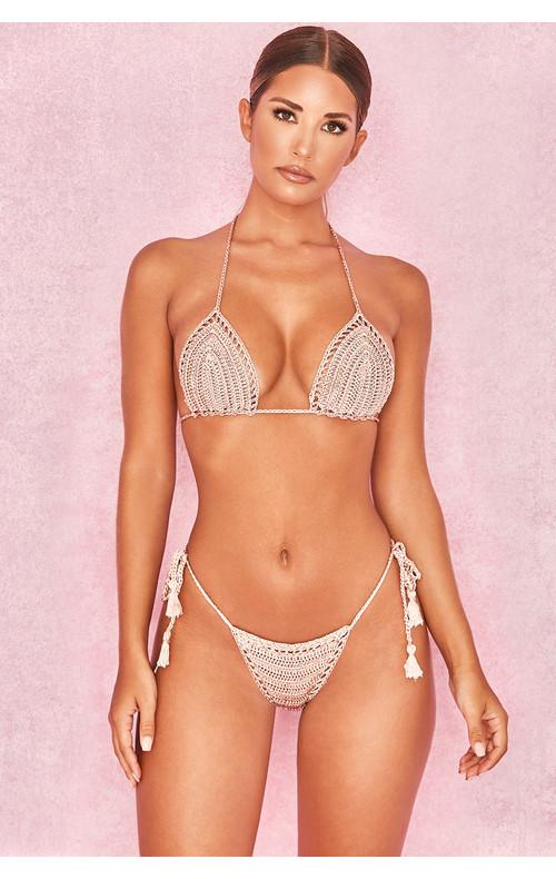 Rheya Camel Crochet Triangle Bikini Two Piece