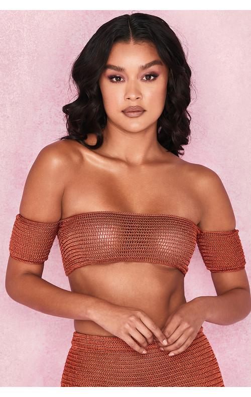 Tatiana Rust Double Crochet Off Shoulder Bardot Top
