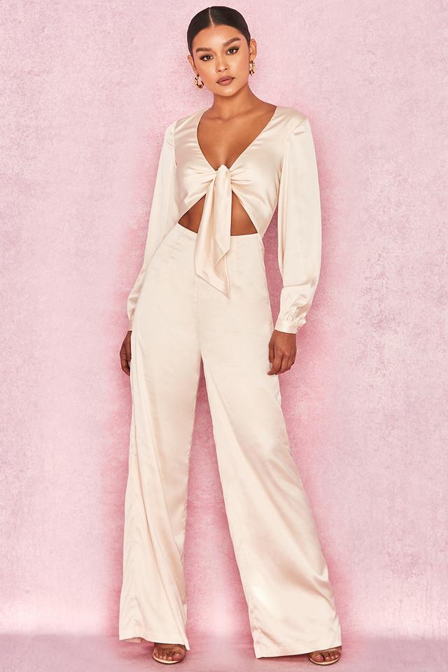 Elara Cream Satin Tie Front Jumpsuit
