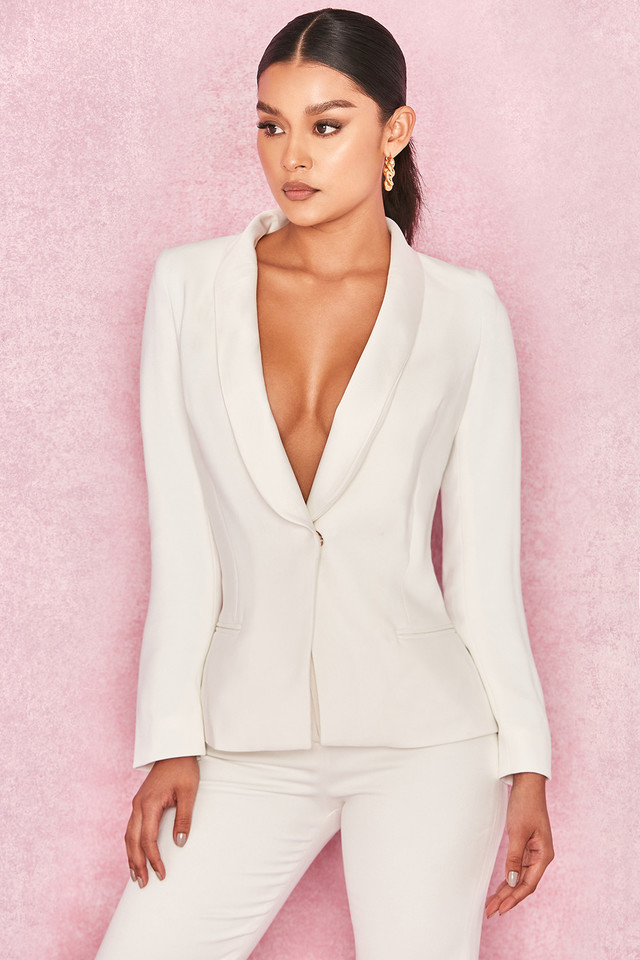 Grazia White Crepe Tailored Tuxedo Jacket