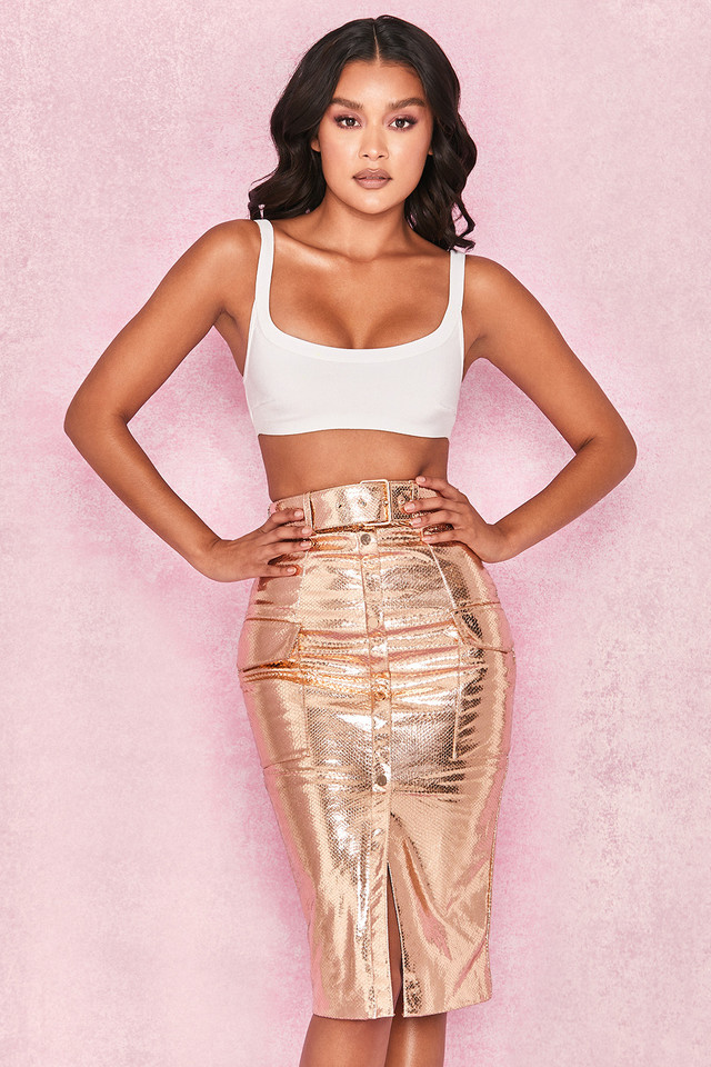 Kassiana Textured Gold Vegan Leather Pencil Skirt