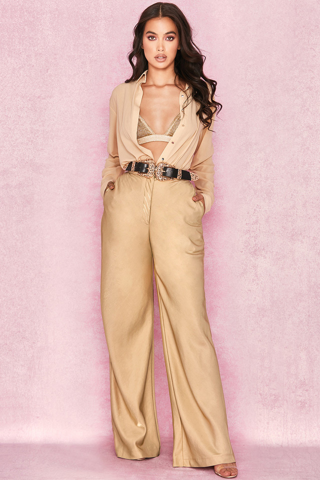 'Margo' Iridescent Gold Wide Leg Trousers