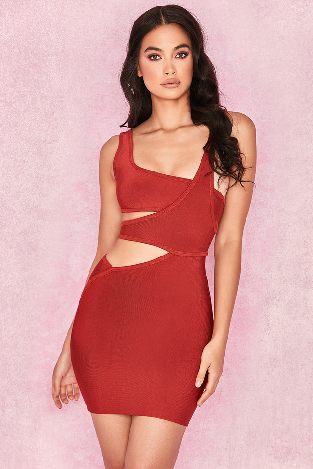 'Michi' Rust Bandage Cut Out Mini Dress