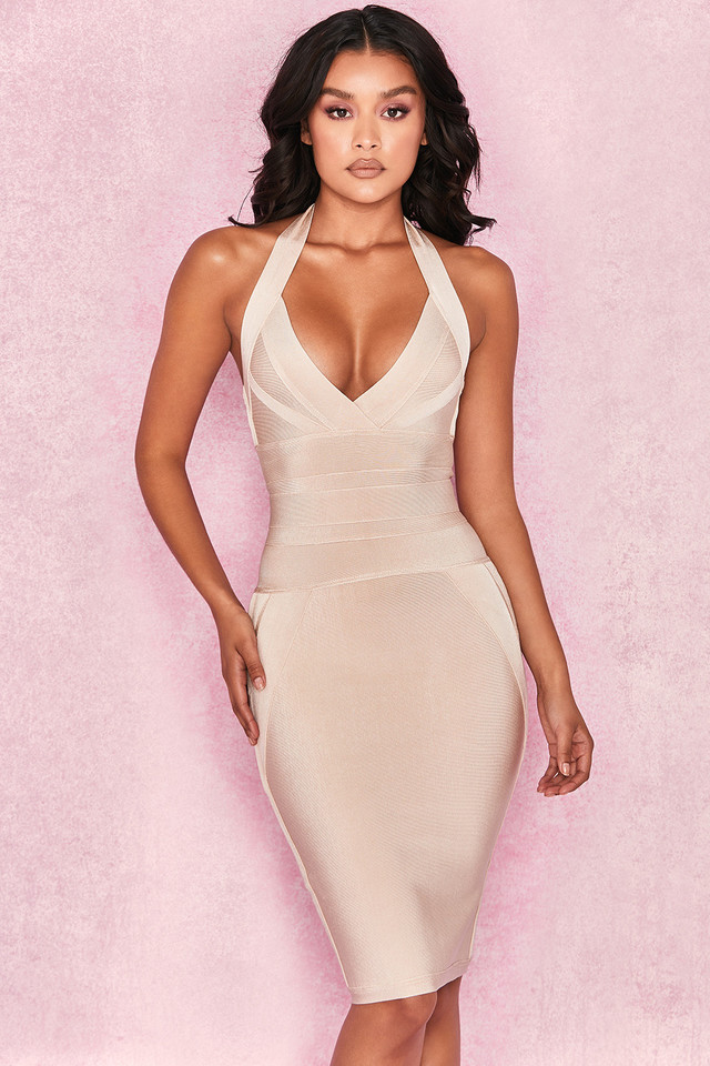 Saku Champagne Halter Bandage Dress