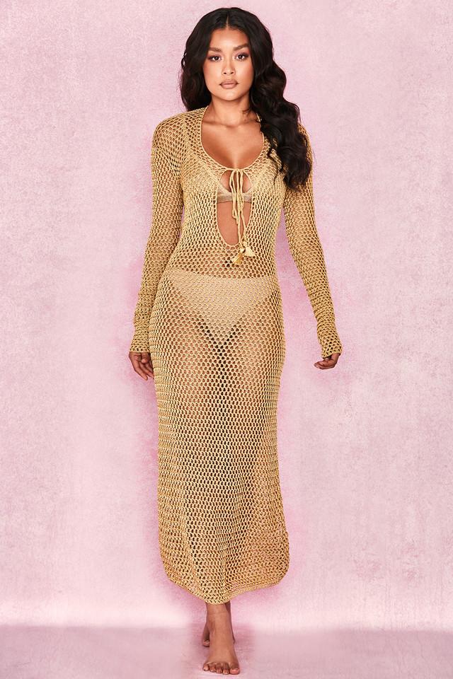'Theone' Gold Crochet Maxi dress