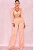 'Lainie' Peach ZigZag Bandage Trousers