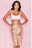 Kassiana Textured Gold Vegan Leather Pencil Skirt