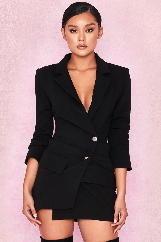 Jaimie Black Draped Tuxedo Dress