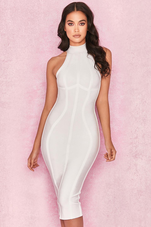 Tamura White Bandage Halter Midi Dress