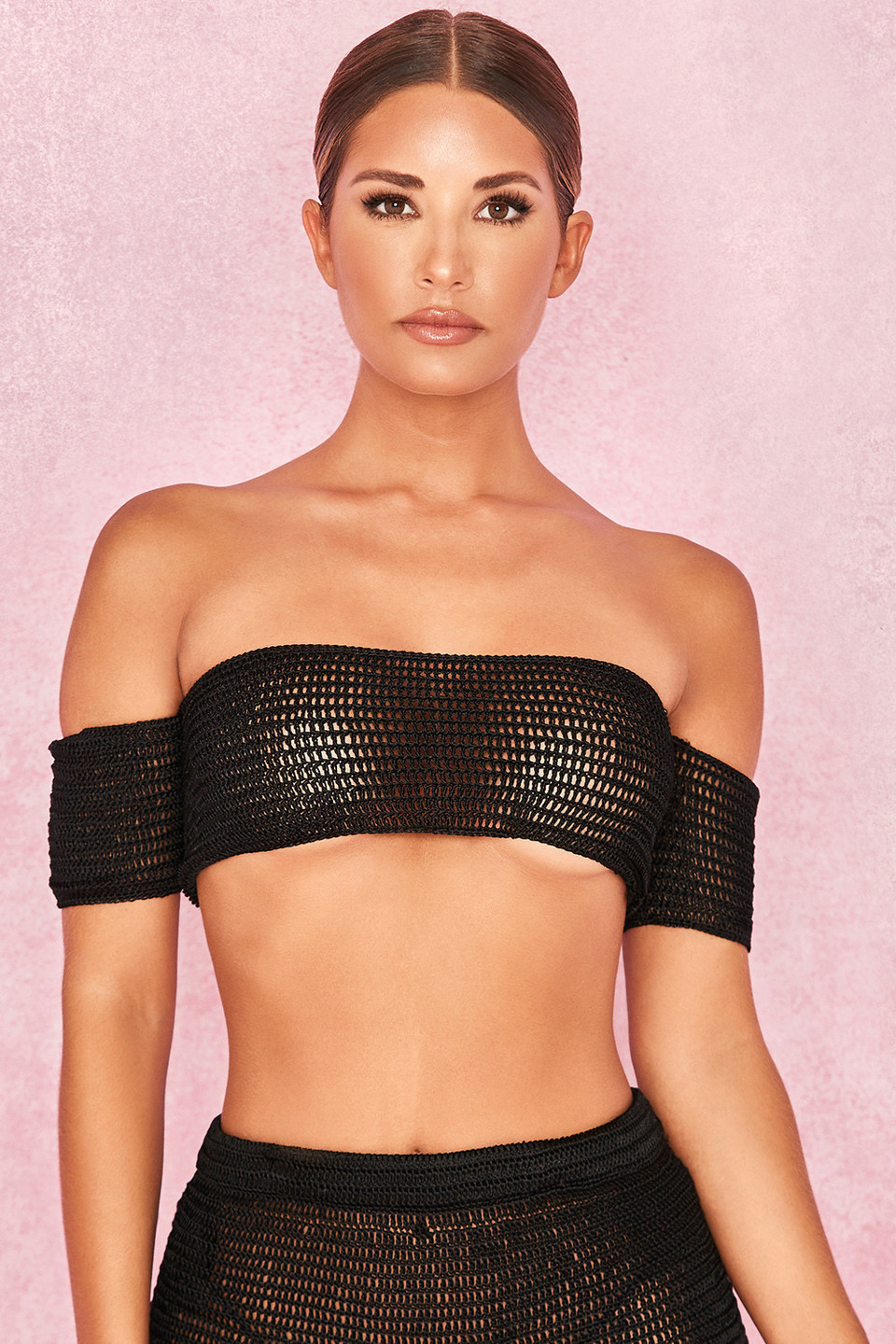 Tatiana Black Double Crochet Off Shoulder Bardot Top