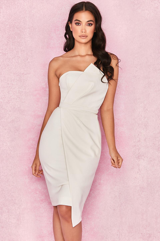 'Uma' White Fold Front Mini Dress