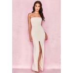 Holly Ecru Slit Front Strapless Maxi Dress