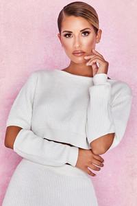 Tatum Off White Cropped Soft Rib Knit Sweater