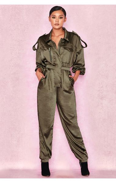Antonella Khaki Satin Oversized Jumpsuit