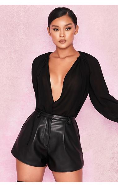 Pandora Black Vegan Leather Curved Hem Shorts