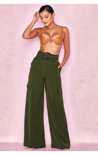 Laurel Khaki Crepe Belted Utility Trousers