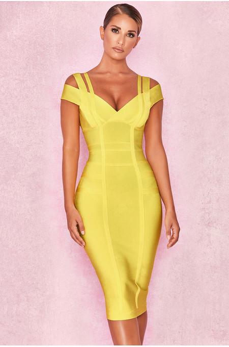 Mimi Yellow Off Shoulder Bandage Dress