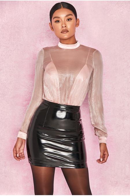 Omaira Pink Satin + Chiffon Plunge Bodysuit