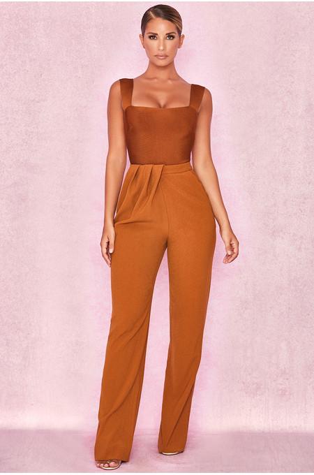 Cosima Tan Drape Front Trousers