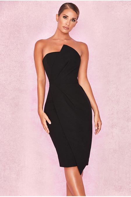 Uma Black Fold Front Mini Dress