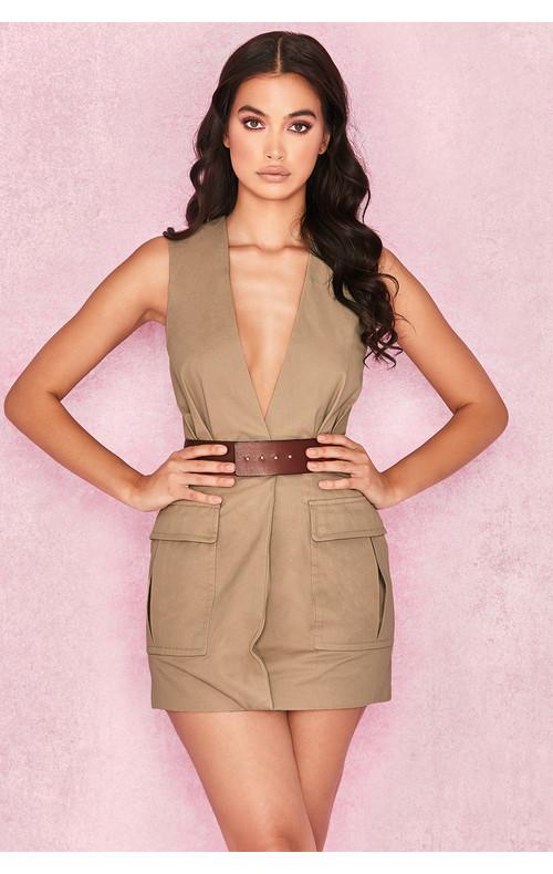 Eva Sand Mock Wrap Dress