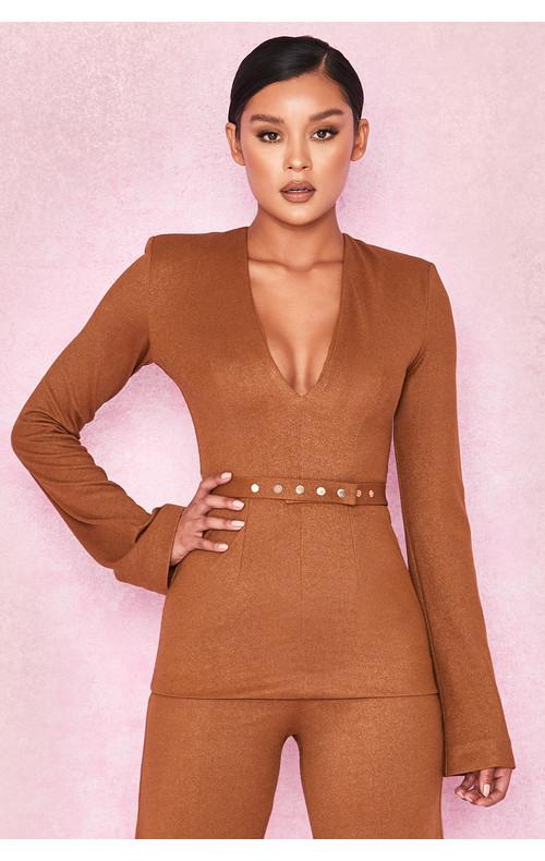 Georgina Metallic Tan Belted Tunic Top
