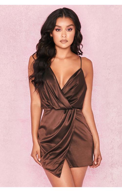 Helaina Chocolate Satin Draped Mini Dress