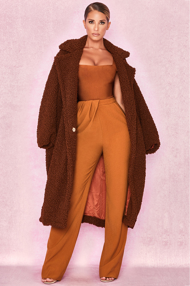 Bear Brown Faux Fur Sherpa Coat