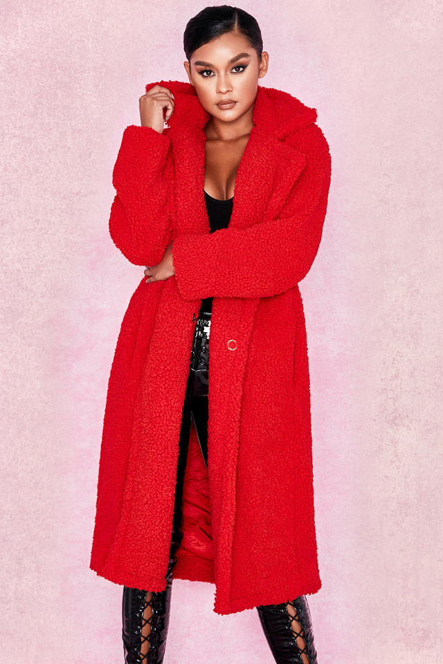 Bear Red Faux Fur Sherpa Coat