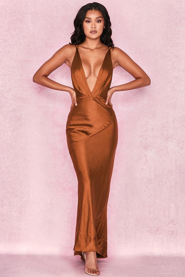 Carmen Bronze Satin Draped Maxi Dress
