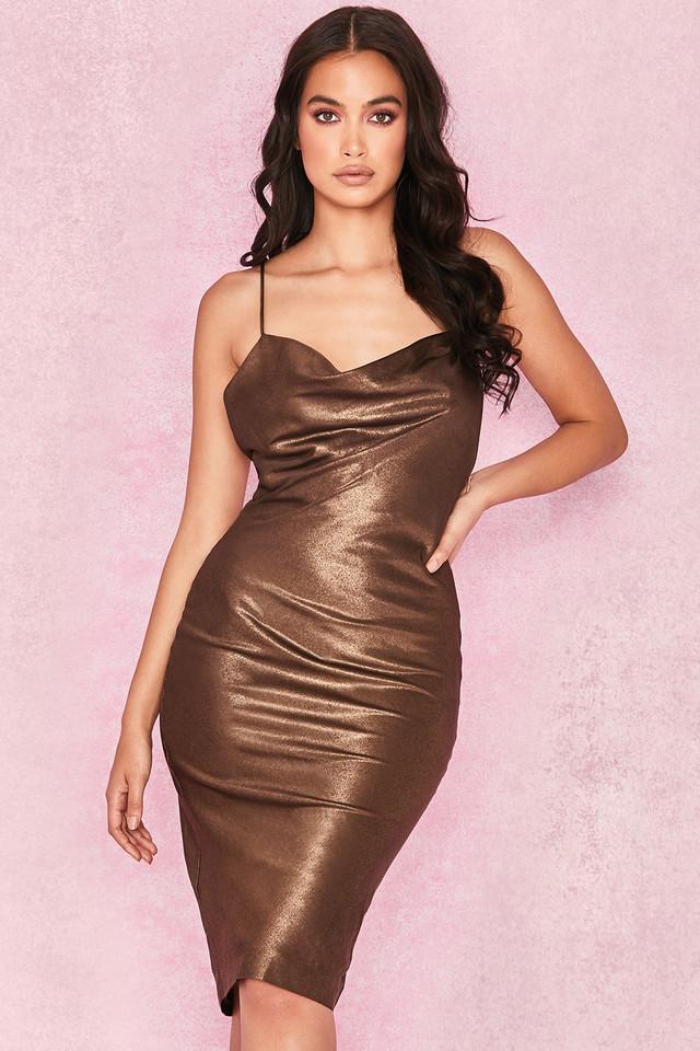 Claudia Bronze Satin Draped Slip Dress