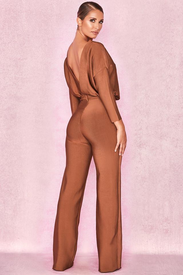 Danuja Tan Bandage Backless Jumpsuit