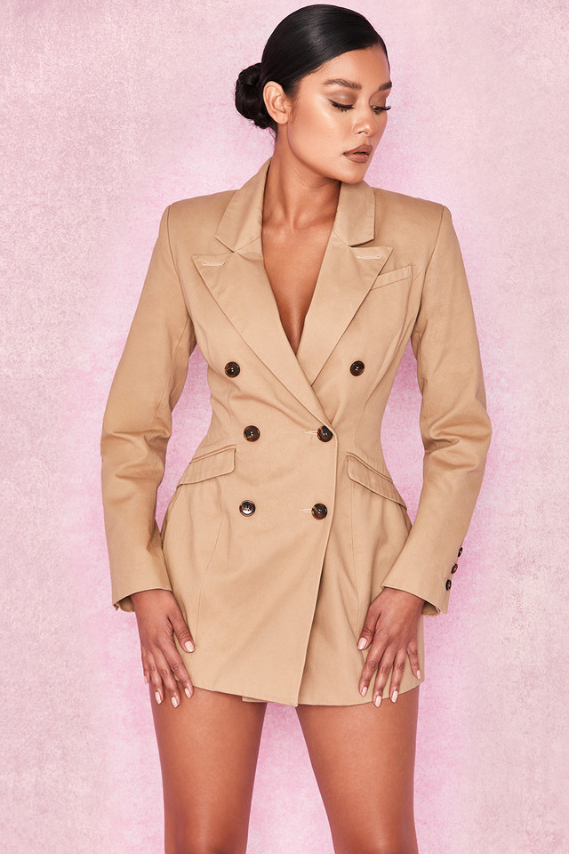 Elexis Camel Tailored Blazer Dress
