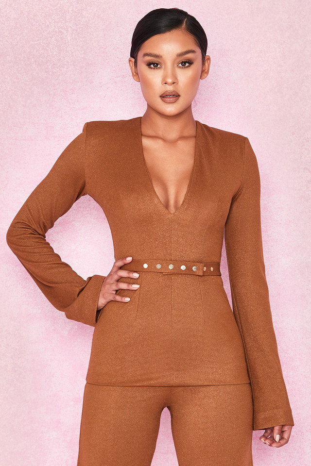 Georgina Metallic Tan Belted Tunic Top