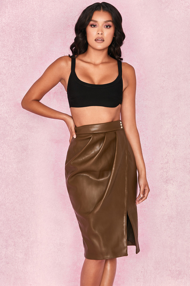 Laraine Khaki Vegan Leather Wrap Skirt