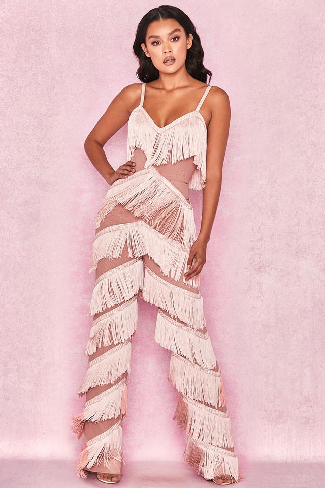 Marcella Pink Fringed Jumpsuit