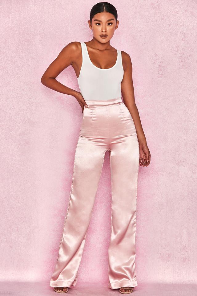 Riah Pink Satin Wide Leg Trousers