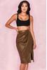 Laraine Khaki Vegan Leather Wrap Skirt