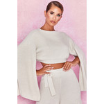 Zaria Off White Open Sleeve Ribbed Sweater