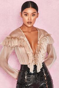 Anaya Beige Ruffle Plunge Bodysuit
