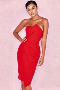 Uma Red Fold Front Mini Dress