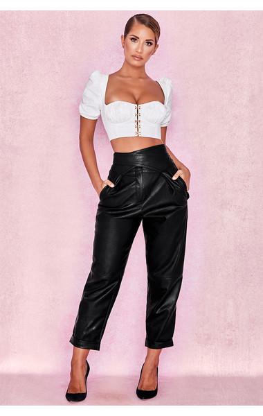 Adelphi Black Vegan Leather Wrap Belt Trousers