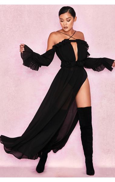 Maia Black Romantic Chiffon Off Shoulder Maxi Dress + Briefs