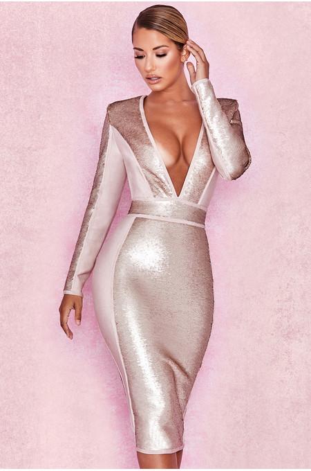 Anastasia Champagne Sequin Deep Plunge Bandage Dress