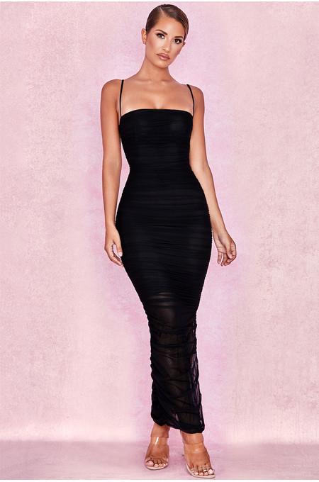Fornarina Black Organza Mesh Maxi Dress