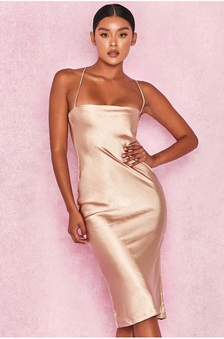 Julieta Champagne Satin Slip Dress