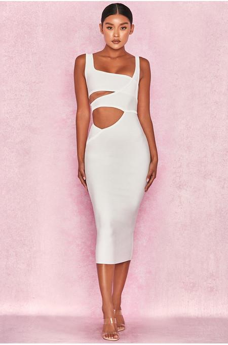 Miya White Bandage Cut Out Dress
