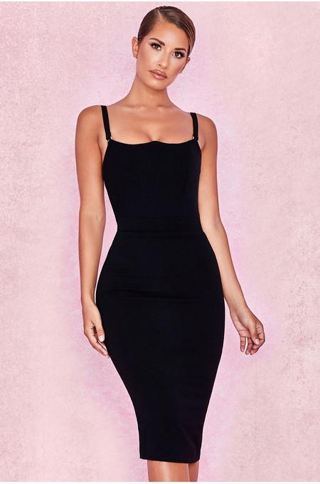 Tessa Black Crepe Bodice Dress