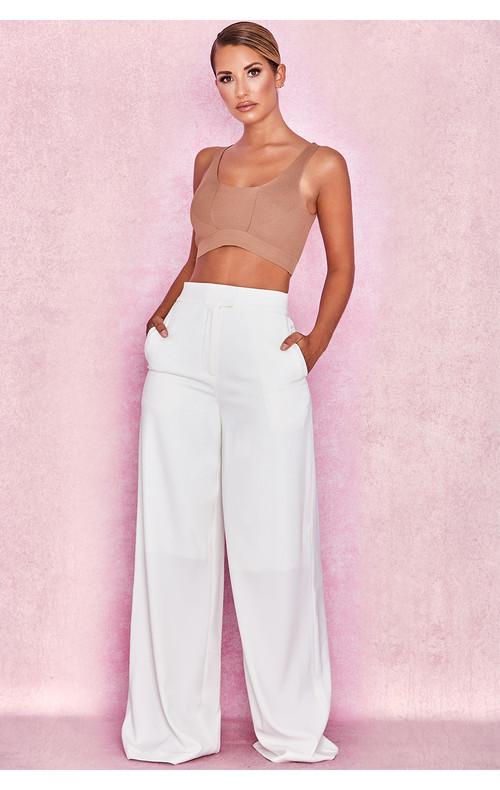 Maite White Crepe Wide Leg Trousers