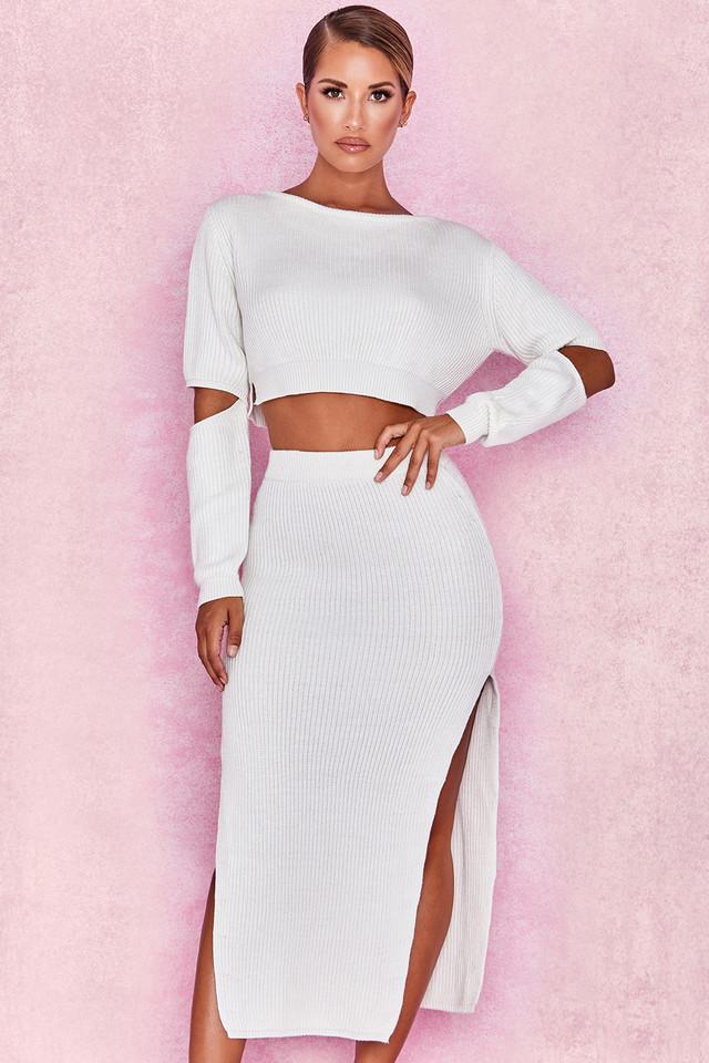 Fernanda Off White Soft Ribbed Maxi Skirt